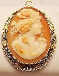 VICTORIAN 14k YELLOW GOLD ETRUSCAN CARVED CAMEO FILIGREE BROOCH PIN PENDANT 8 gm
