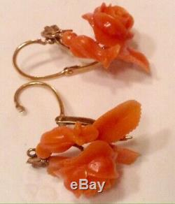 VICTORIAN CARVED CORAL 14k GOLD EARRINGS FRONT CLOSURE