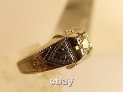 VICTORIAN Heavy 18k WHITE Gold Hand Carved DIAMOND RING Mine Cut. 11ct Sz 7