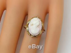 VINTAGE Solid 10k Yellow Gold Carved Cameo Lady Bust Victorian Ring Size 6.5