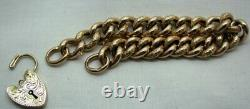 VIctorian Beautiful 9 carat Rose Gold Carved Curb Link Bracelet With Padlock