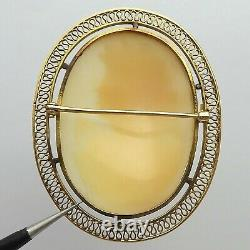 Victorian 10K Gold Filigree Carved Shell Cameo Italy Pendant Brooch Pin