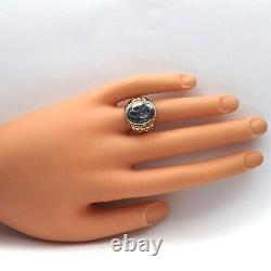 Victorian 10K Gold Gold Carved Hematite Cameo Soldier Roman Ring Sz 8.5
