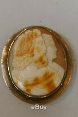 Victorian 10K Gold Hand Carved Zeus & Hera Shell Cameo Brooch Classical Motif