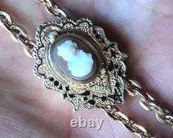 Victorian 10K Rose Gold Hardshell Carved Cameo Slide Watch Chain GF Necklace