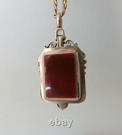 Victorian 10K Rose Gold Locket Pendant With Un-carved Red, White & Black Agates