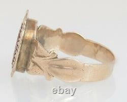 Victorian 10K Yellow Gold Hand Carved Carnelian Cameo Men's Ring Size 9.75