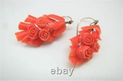 Victorian 10K Yellow Gold Wire Pierced Earrings withCarved Coral Flower Bouquet