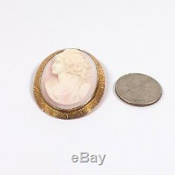 Victorian 10k Gold Carved Angel Skin Coral Mercury Cameo Brooch Pin Pendant