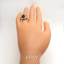 Victorian 10k Gold Carved Onyx Double Roman Knight Cameo Mens Unisex Ring sz11