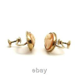 Victorian 10k Gold Carved Shell Cameo Non Pierced Screw On Earrings