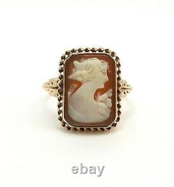 Victorian 10k Gold Carved Shell Woman Cameo Ring