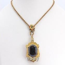 Victorian 10k Gold Carved Stone Soldier Cameo Mourning Locket Pendant Necklace