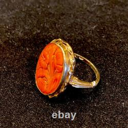 Victorian 10k Gold Coral Flower Carved Ring (Size 7)