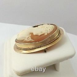 Victorian 10k Gold Hand Carved Conch Shell Cameo Brooch Pin 10.2gr