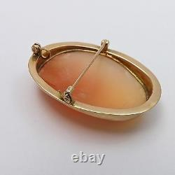 Victorian 10k Gold Hand Carved Frame Conch Shell Cameo Brooch Pin Pendant 8.0gr