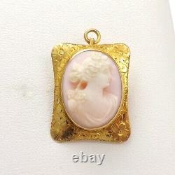 Victorian 10k Gold High Relief Carved Angel Skin Coral Cameo Brooch Pin Pendant