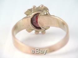 Victorian 10k Gold Rose Cut Diamond Opal & Carved Moon Garnet Stone Ring