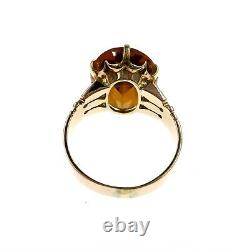 Victorian 10k Solid Yellow Gold 10ct Golden Citrine Hand Carved Ring Size 7