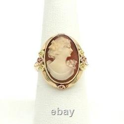 Victorian 10k Tricolor Gold Carved Shell Cameo Ring