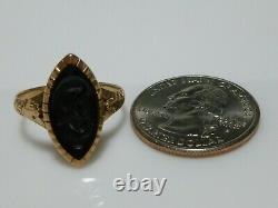 Victorian 10k Yellow Gold Carved Onyx Intaglio Cameo Warrior Shield Ring