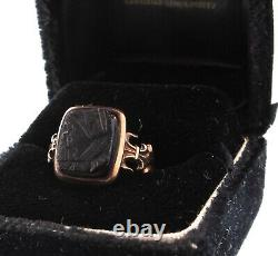 Victorian 12K Gold Carved Black Onyx Lady Cameo Ring Size 5.5