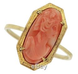Victorian 14K 585 Yellow Gold Red Coral Floral Carved Portrait Lady Cameo Ring