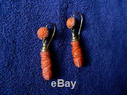 Victorian 14K Gold Carved Italian Red Coral Earrings Antique Pierced WOW
