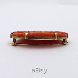 Victorian 14K Gold Natural Red Sea Coral Hand Carved Floral Brooch Pin 5.6gr