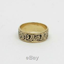 Victorian 14K Gold Wood & Sons 6.5mm Carved Floral Wedding Band Ring Sz 5