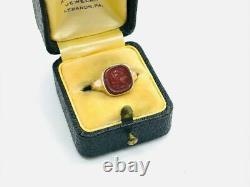 Victorian 14K Rose Gold Egyptian Revival Carnelian Carved Cameo Ring