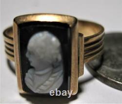 Victorian 14K Rose Gold Hardstone Carved Cameo Ring Hard stone sz 6 hard stone