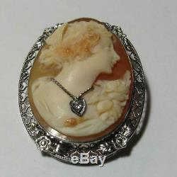 Victorian 14K White Gold Carved Shell Cameo Brooch / Pendant withDiamond