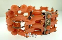 Victorian 14K Yellow Gold Carved Coral Bracelet With Antique Bracelet Box Estate