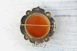 Victorian 14K Yellow Gold Carved Hardstone Cameo Enamel Brooch Antique Luxury