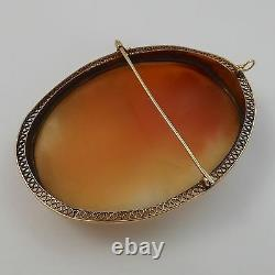 Victorian 14K Yellow Gold Huge Carved Shell Cameo Goddess Flora Brooch Pendant
