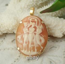 Victorian 14K Yellow Gold Three Graces Carved Shell Cameo Pin Brooch Pendant