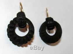 Victorian 14 kt Gold Filled Etched Bog Oak Carved Dangle Drop Earrings