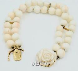 Victorian 14k Carved Coral Bracelet Gold Two Strand Beaded Flower Angel Skin