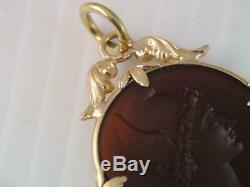 Victorian 14k Solid Gold Carved Carnelian Intaglio Pendant Winged Mercury Helmet