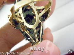 Victorian 14k Y/Gold Black Onyx Carved & Rose Cut Diam Ring Sz 9.75 Antique