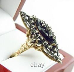 Victorian 14k Y/Gold Black Onyx Carved & Rose Cut Diamond Ring Sz 9.75 Antique