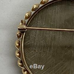 Victorian 14k Y gold lava Hermes brooch pendant carved cameo god $2200 appraisal