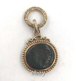 Victorian 14k Yellow Gold Carved Knight Bloodstone Signet Watch Fob
