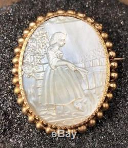 Victorian 14k Yellow Gold Carved Mother of Pearl Shell Cameo Brooch Pin