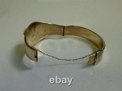Victorian 14k Yellow Gold Cuff Bracelet with Carved Pink Coral Rose