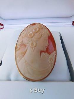 Victorian 14k Yellow Gold Large Hand Carved Cameo Brooch-pin /pendant