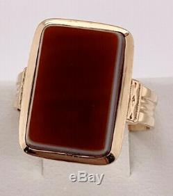 Victorian 14k rose gold Rectangular Orange Agate Carved Ring Fancy Shank size 8