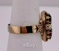Victorian 14k yellow gold 2 Oval Rhodolite Garnet Seed Pearl Carved Ring sz 6.75