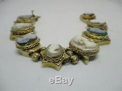 Victorian 14kt Gold Carved Shell Cameo Assorted Charms Slide Bracelet 47 Grams